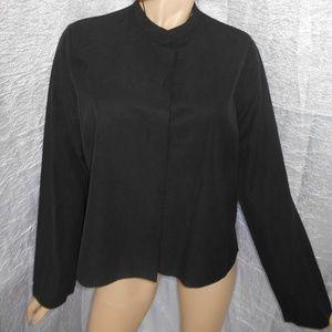 EILEEN FISHER Black Button Down Jacket Sz L